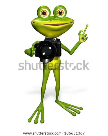illustration a merry green frog with a camera