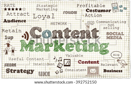 Illustration about Content Marketing on old Paper - stock photo