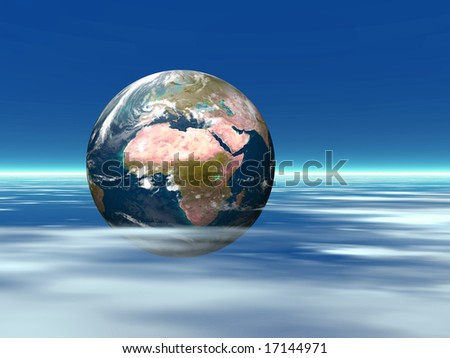 Illustration about the earth planet among white clouds