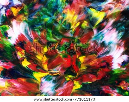 Color Design Art : Illustration abstract art oil paint flying stock