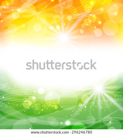 Illustration Abstract Background in Traditional National Colors of Flag for Indian Holidays - raster - stock photo
