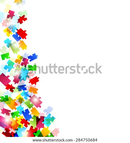 Illustration abstract background with set colorful puzzle pieces - raster - stock photo