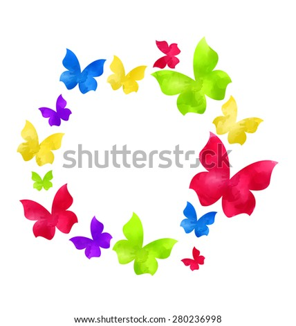 Illustration abstract hand-drawn watercolor butterflies in round frame, copy space for your text - raster  - stock photo