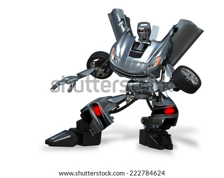 illustration abstract metal robot  car on white