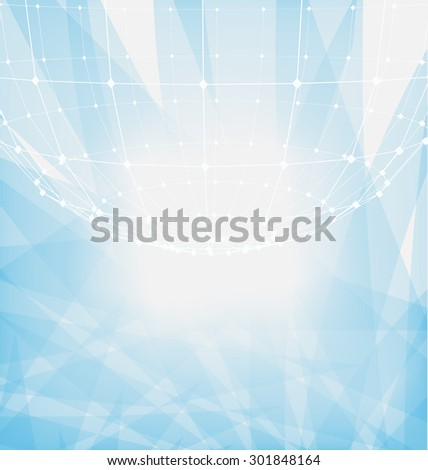 Illustration Abstract Particles of Circle with Mesh Polygonal Elements for Business Presentations - raster - stock photo