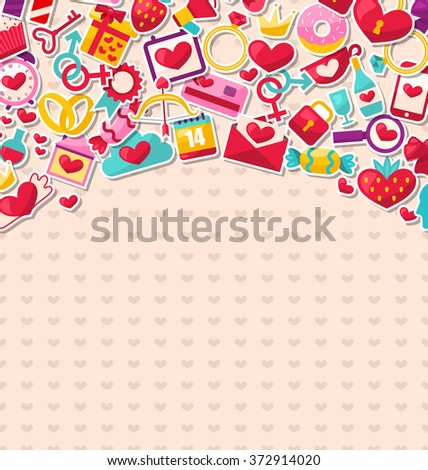 Illustration Abstract Postcard for Happy Valentine's Day. Flat Valentine Icons, Cupid Arrows, Love Letter, Gender Symbols, Present, Strawberry, Candy - raster - stock photo