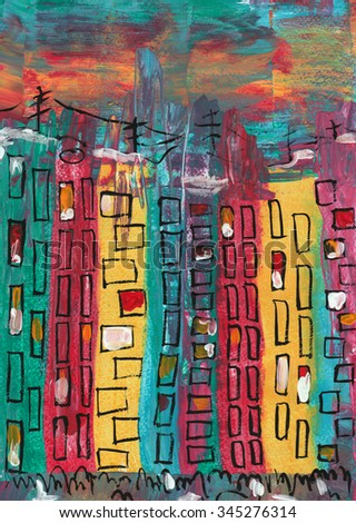 Illustration. Abstraction. City landscape. Colored high-rise buildings, on the background of a starry sky. Painted with acrylic paints. - stock photo