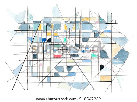 Illustration Abstraction Subway Cars Schematically Lines Stock ... on