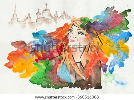 Illustration, abstraction, watercolor. The girl with multi-colored hair, run out of town. Silhouette of the city in the background. It is drawn with a brush, liner and paints.  - stock photo