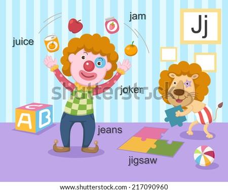 illustration alphabet.J letter-juice,jam,joker,jeans,jigsaw. EPS vector version id 177174425.format also available in my portfolio - stock photo