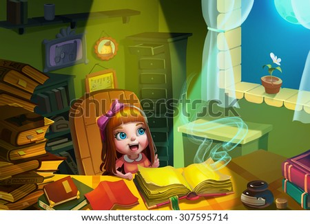 Illustration: Amy opens an old Magical book in her studying room. Then she realizes Something Amazing is Going to Happen! Realistic Cartoon Style. Fantasy Scene / Wallpaper / Background Design. - stock photo
