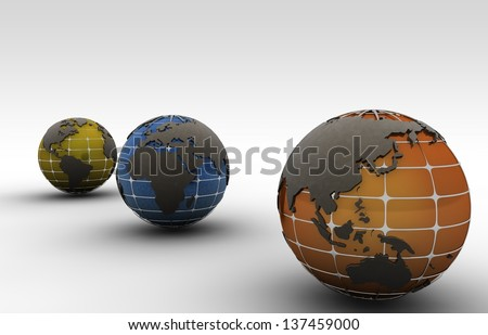 illustration and different views of the globe