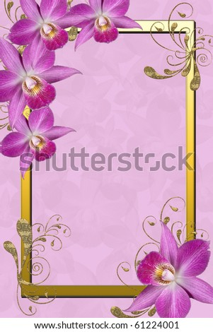 Illustration and image composition of pink orchids and golden frame for background - stock photo
