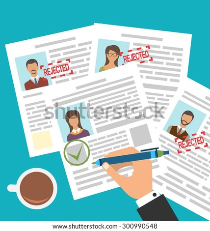 Illustration Approved Stamp Sign Resume Female - raster - stock photo