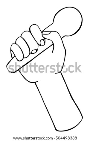 illustration Art doodle hand drawn of sketch hand with microphone