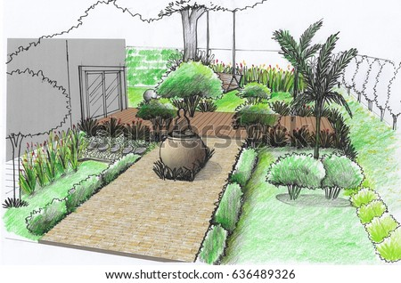 Illustration asian landscape style garden design stock for Landscape and garden design sketchbooks