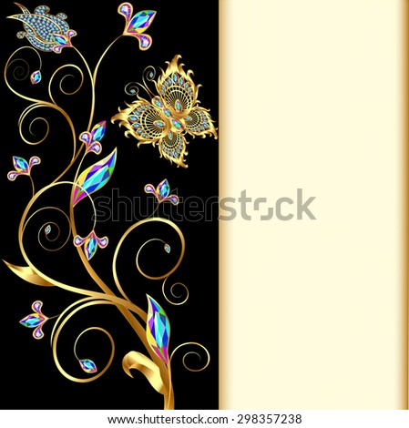 illustration background with butterflies and ornaments made of precious stones - stock photo
