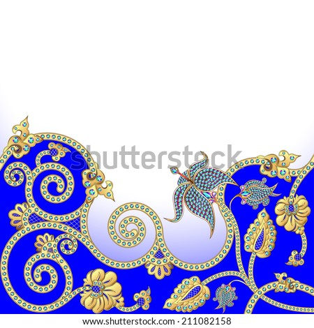 illustration background with flowers of gold and precious stones - stock photo