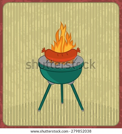 Illustration barbecue card with sausage and flame - raster - stock photo
