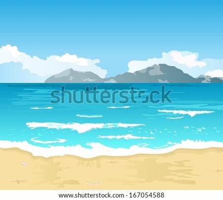 Illustration beautiful summer background with beach - raster - stock photo