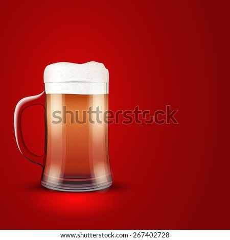 Illustration beer and mug on red background. For the menu, pubs, bars and restaurants.