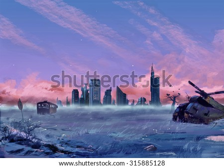 Illustration: Between the City and the Wilderness. Fantastic Cartoon Style Scene Wallpaper Background Design with Story. - stock photo