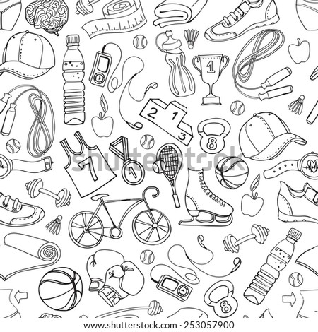 illustration Black and white Sport and fitness seamless doodle pattern - stock photo