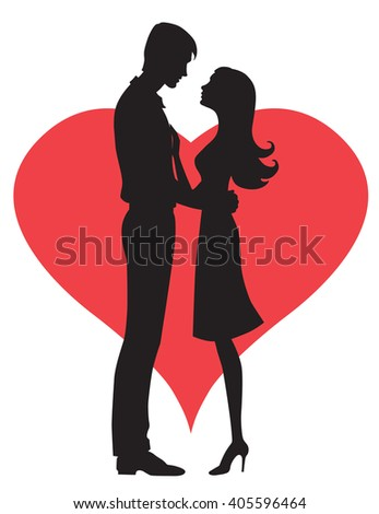 Illustration black silhouette of lovers embracing on a white background Couple in love Illustration of man and woman lovers - stock photo