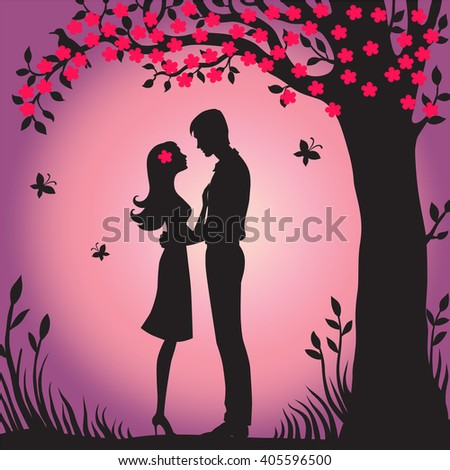 Illustration black silhouette of lovers embracing on a white background Couple in love Illustration of man and woman lovers flower viewing sakura - stock photo
