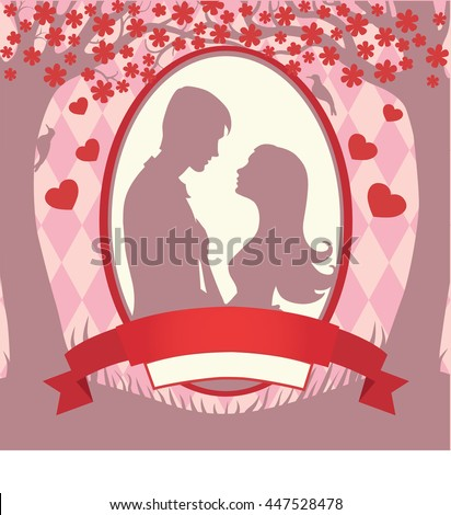 Illustration black silhouette of lovers embracing on a white background Couple in love  of man and woman lovers