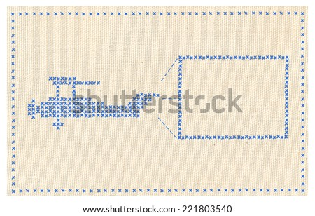 illustration blue biplane with banner card - stock photo