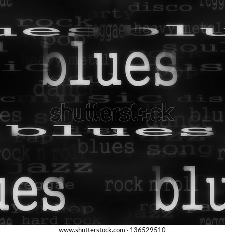 illustration blues music word background, texture - stock photo