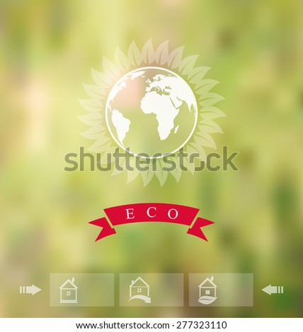 Illustration blurred background with eco badge, ecology label with icons of green house - raster - stock photo