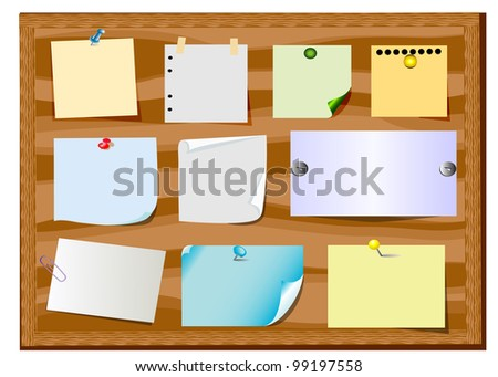 illustration board announcement with slip of paper and office button - stock photo