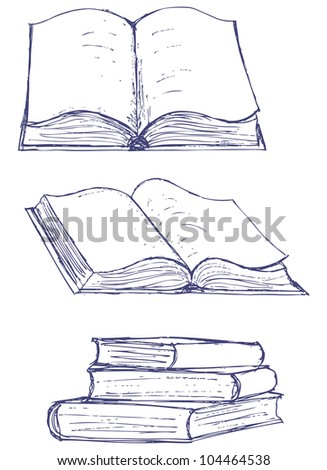 Illustration books isolated on the white background. Raster version