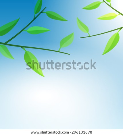 Illustration Branch Tree with Green Leaves and Blue Sky - raster - stock photo