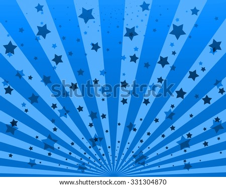 Illustration bright sunbeams. Bright sunbeams on blue background. Abstract bright background with stars - stock photo
