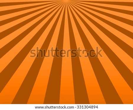 Illustration bright sunbeams. Bright sunbeams on orange background. Abstract bright background. - stock photo