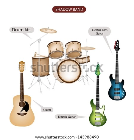 Illustration Brown Color Collection of Musical Instruments Shadow Band, Guitar, Electric Guitar, Electric Bass Guitar and Drum Kit in Retro Style   - stock photo