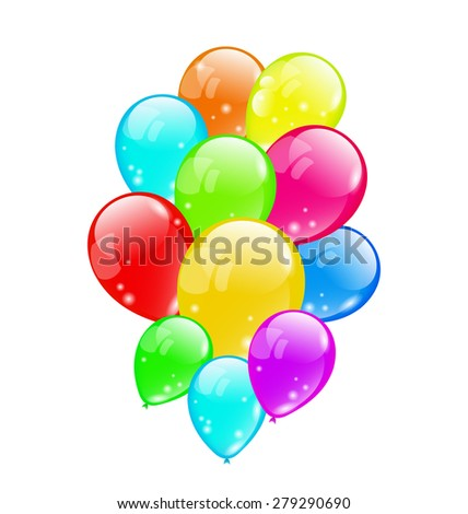 Illustration bunch colorful balloons isolated on white background - raster - stock photo