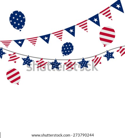 Illustration Bunting pennants for Independence Day USA, President Day, Washington Day, US Labor Day - raster - stock photo