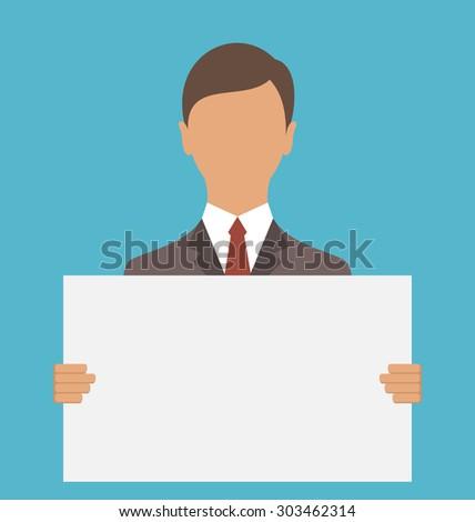 Illustration Business Man Holding Big Blank Paper - raster - stock photo