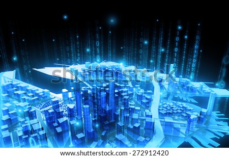 illustration Business media city communication binary code - stock photo