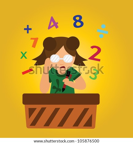 Illustration - Calculate.Concept.What is answer. - stock photo