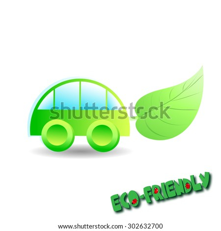 illustration car with leaf - stock photo
