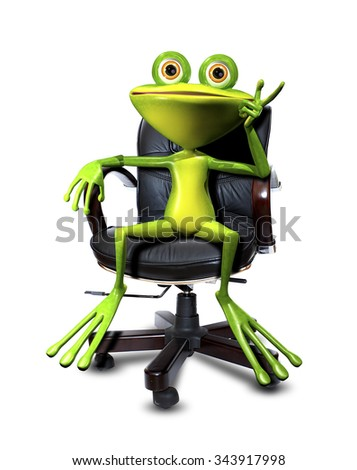 Illustration cartoon frog in a chair Head - stock photo