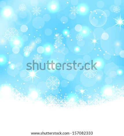 Illustration Christmas abstract background with snowflakes, stars - raster