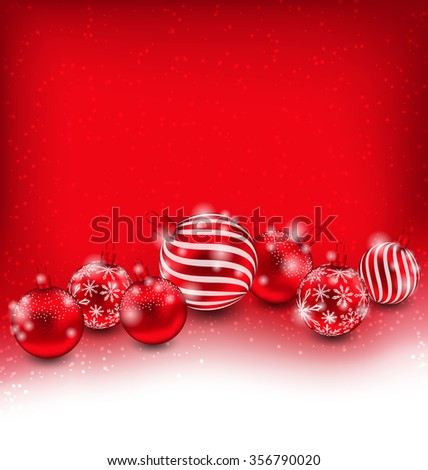 Illustration Christmas and Happy New Year Abstract Background with Red Balls, Bright Wallpaper - raster - stock photo