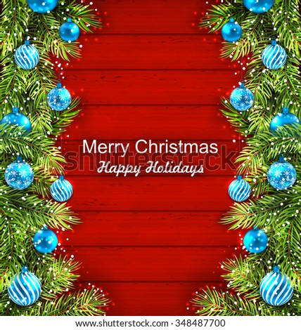 Illustration Christmas Artwork with Fir Twigs and Glass Balls, Holiday Wallpaper - raster - stock photo