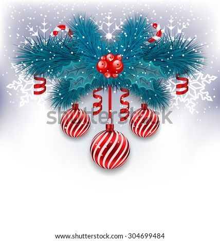 Illustration Christmas background with fir branches, glass balls and sweet canes - raster - stock photo